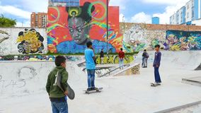 Tunja Colombia skatepark with sun. Tunja,  Colombia – March 25: This original mural in the skate park of Tunja welcomes visitors in the colonial city of stock footage