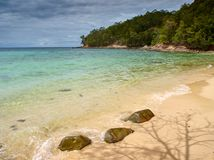 Tunku Abdul Rahman National Park, Borneo, Malaysia- Manukan Island stones royalty free stock photography