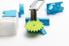 Tunn gräsplan 3D skrivev ut kugghjulet med synliga lager av plast- som är hållbar Arkivbilder