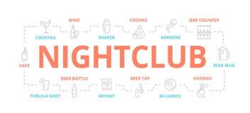 tunn linje baner för nattklubb för designbegrepp Illustration för presentationer på vit bakgrund royaltyfri illustrationer