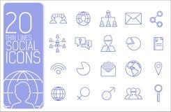 Tunn linje begrepp för affärsuppsättningsymboler vektor Royaltyfri Fotografi
