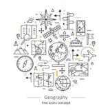 Tunn linje begrepp för modern färg av geografi vektor illustrationer