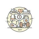 Tunn linje begrepp för modern färg av sportar och kondition stock illustrationer