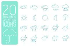 Tunn linje begrepp för väderuppsättningsymboler vektor Fotografering för Bildbyråer