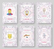 Tunn linje broschyrkortuppsättning för cirkus Festivalmall av flyear, tidskrifter, affischer, bokomslag, baner vektor Fotografering för Bildbyråer