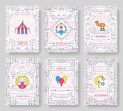 Tunn linje broschyrkortuppsättning för cirkus Traditionell mall för festival av flyear, tidskrifter, affischer, bokomslag, baner Royaltyfria Foton