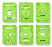 Tunn linje broschyrkortuppsättning för strikt vegetarian Grönsakmall av flyear, tidskrifter, affischer, bokomslag, baner vegetari Arkivfoton