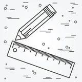 Tunn linje design för linjal och för blyertspenna Linjal- och blyertspennapennsymbol Royaltyfri Foto