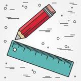 Tunn linje design för linjal och för blyertspenna Linjal- och blyertspennapennsymbol ru Royaltyfri Bild