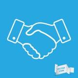 Tunn linje designsymbol för handskakning Royaltyfria Foton