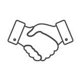 Tunn linje designsymbol för handskakning Royaltyfri Fotografi