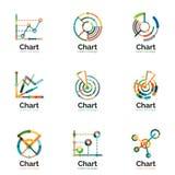 Tunn linje diagramlogouppsättning Modern färgrik plan stil för grafsymboler stock illustrationer