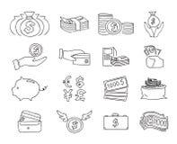 Tunn linje dragen linje konstillustration för pengar för symbolsvektoruppsättning hand stock illustrationer
