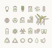Tunn linje ekologisk symbolsuppsättning för vektor Symboler för miljö- som återanvänder, förnybara energikällor, natur vektor illustrationer