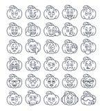 Tunn linje emojiemoticons för allhelgonaaftonpumpa stock illustrationer