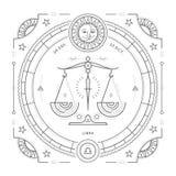 Tunn linje etikett för tappning för Vågzodiaktecken Astrologiskt symbol för Retro vektor Arkivbilder