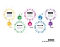 tunn linje för 5 cirkel som är infographic för begrepp för affärstimelinepresentation vektor illustrationer