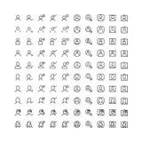 Tunn linje för fastställda symboler av användargränssnittet och avatars stock illustrationer