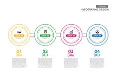 Tunn linje för Infographics cirkel med mallen för 4 data Vektorillus royaltyfri illustrationer