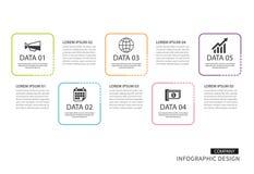 Tunn linje för Infographics fyrkant med mallen för 4 data Vektorillus royaltyfri illustrationer