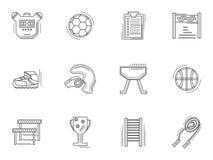 Tunn linje fysiska kultursymboler för stil Royaltyfria Bilder