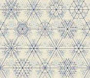 Tunn linje geometrisk modell för sömlös vektor av snöflingor Arkivbild