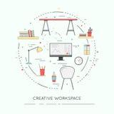 Tunn linje lägenhetdesignbaner av idérik Workspace för website och mobil Fotografering för Bildbyråer