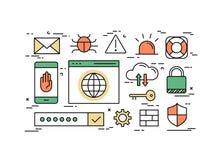 Tunn linje lägenhetdesignbegrepp av internetsäkerhet royaltyfri illustrationer