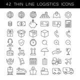Tunn linje logistiksymbolsuppsättning Last- och hemsändningsymboler Svart översikt, ingen påfyllning som är redigerbar Fotografering för Bildbyråer