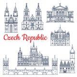 Tunn linje loppgränsmärken för Tjeckien Arkivfoton
