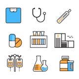 Tunn linje medicinutrustningtecken för medicinsk symbolsuppsättning på det vita bakgrundssjukhusvårdbegreppet royaltyfri illustrationer