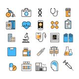 Tunn linje medicinutrustningtecken för medicinsk symbolsuppsättning på det vita bakgrundssjukhusvårdbegreppet vektor illustrationer