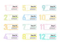 Tunn linje minsta Infographic designmall 12 alternativ, moment Kan användas för processdiagrammet, presentationer, workfloworient stock illustrationer