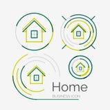 Tunn linje proper designlogouppsättning, hem- idé vektor illustrationer