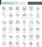 Tunn linje rengöringsduksymbolsuppsättning för elektronisk apparat Design för symboler för slaglängd för grejapparatöversikt stock illustrationer