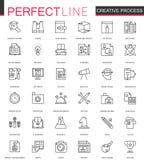 Tunn linje rengöringsduksymbolsuppsättning för idérik process Översiktssymbolsdesign stock illustrationer
