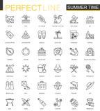 Tunn linje rengöringsduksymbolsuppsättning för sommartid Design för symboler för slaglängd för semesterloppöversikt Arkivbild