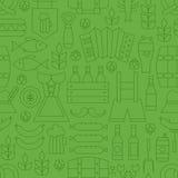 Tunn linje sömlös grön modell för Oktoberfest ferie stock illustrationer