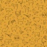 Tunn linje samling för lantgårddjur seamless patten Plan design Arkivfoton