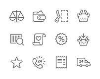 Tunn linje shoppingsymbolsuppsättning. royaltyfri illustrationer