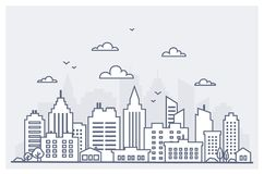 Tunn linje stadslandskap I stadens centrum landskap med höga skyskrapor Mall för landskap för panoramaarkitekturstad stock illustrationer