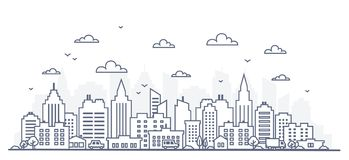 Tunn linje stilstadspanorama Illustration av den stads- landskapgatan med bilar, horisontstadskontorsbyggnader, på ljus vektor illustrationer