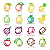 Tunn linje symbol för frukt Arkivbilder