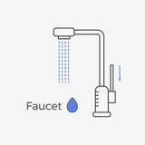 Tunn linje symbol för vattenkranvattenklapp Vektor Illustrationer
