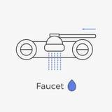 Tunn linje symbol för vattenkranvattenklapp Stock Illustrationer