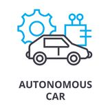 Tunn linje symbol, tecken, symbol, illustation, linjärt begrepp, vektor för autonom bil vektor illustrationer