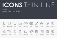 Tunn linje symboler för affär royaltyfri illustrationer