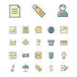 Tunn linje symboler för affär, finans och bankrörelsen Arkivbilder