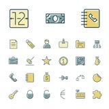Tunn linje symboler för affär, finans och bankrörelsen Arkivbild