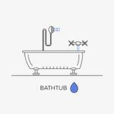 Tunn linje symboler för badkar, för dusch och för vattenkran i en sammansättning Royaltyfri Illustrationer